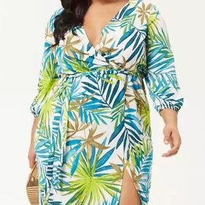 Forver 21 Plus Size Palm Leaf Print Dress